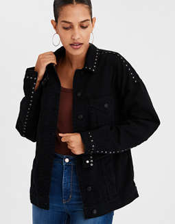 Ae Studded Boyfriend Denim Jacket by American Eagle Outfitters