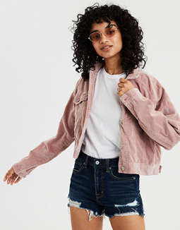AE Cropped Corduroy Trucker Jacket