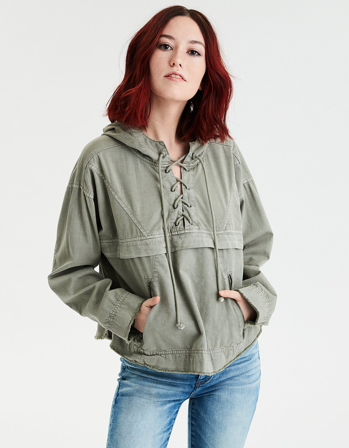 b89aa600c1d AE Lace Up Popover Jacket