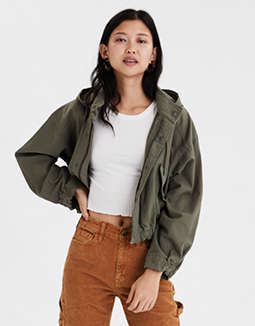 AE Cropped Hooded Military Jacket
