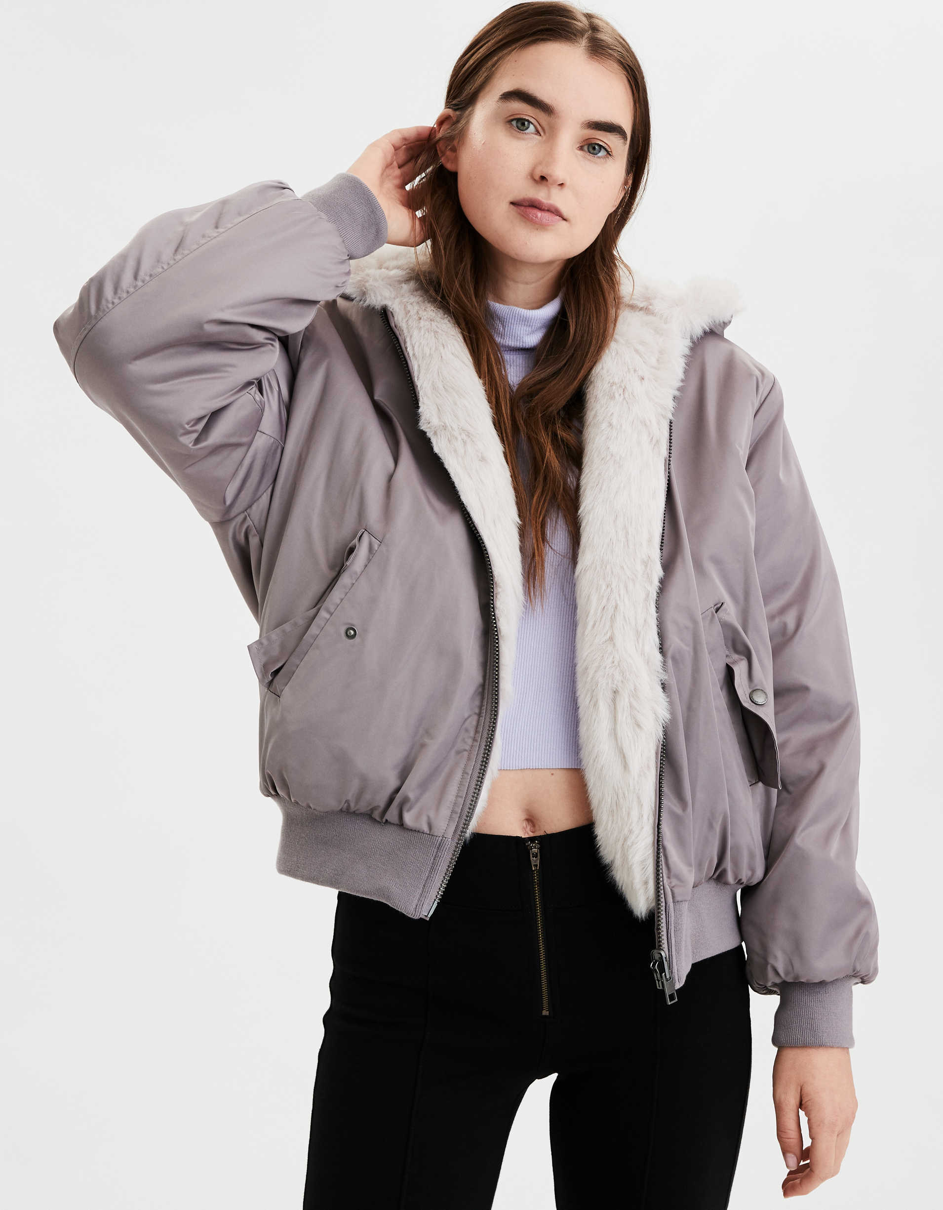 AE Reversible Faux Fur Bomber Jacket