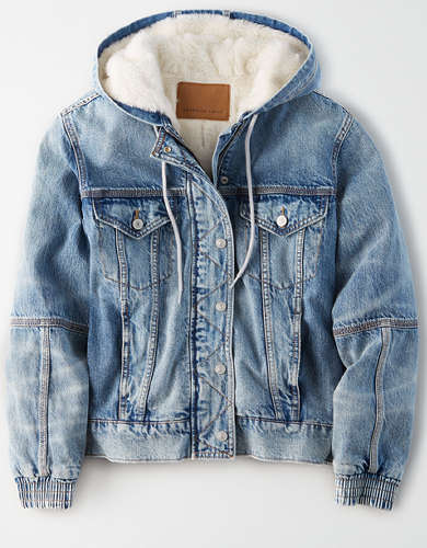 AE Faux Sherpa Lined Hooded Denim Jacket