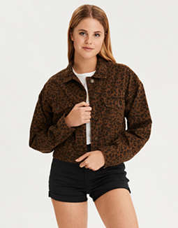 AE Leopard Cropped Jacket