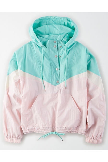 80s Windbreakers, Jackets, Coats AE Quarter Zip Windbreaker Womens Mint XXL $59.96 AT vintagedancer.com