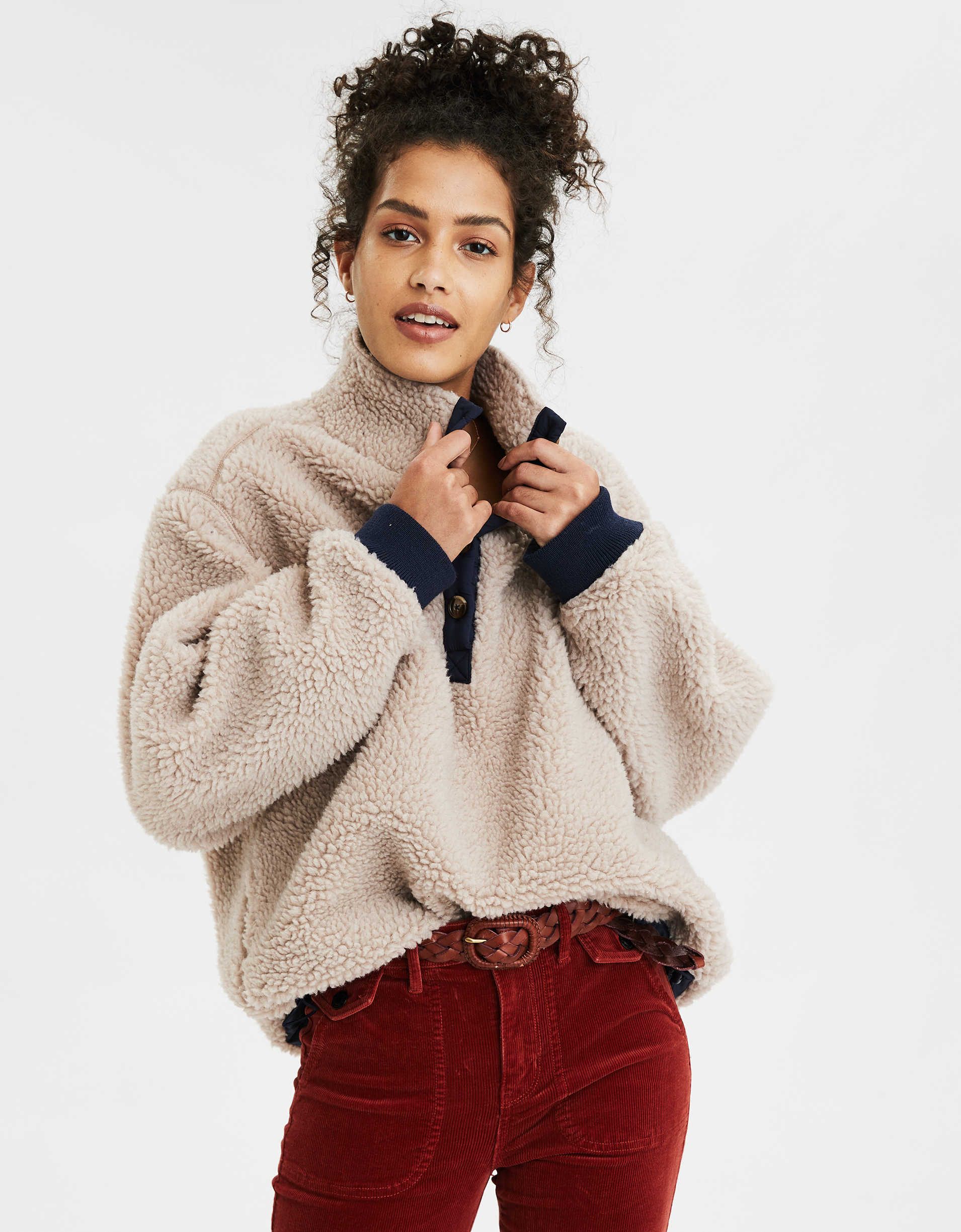 AE Fuzzy Faux Sherpa Popover Jacket
