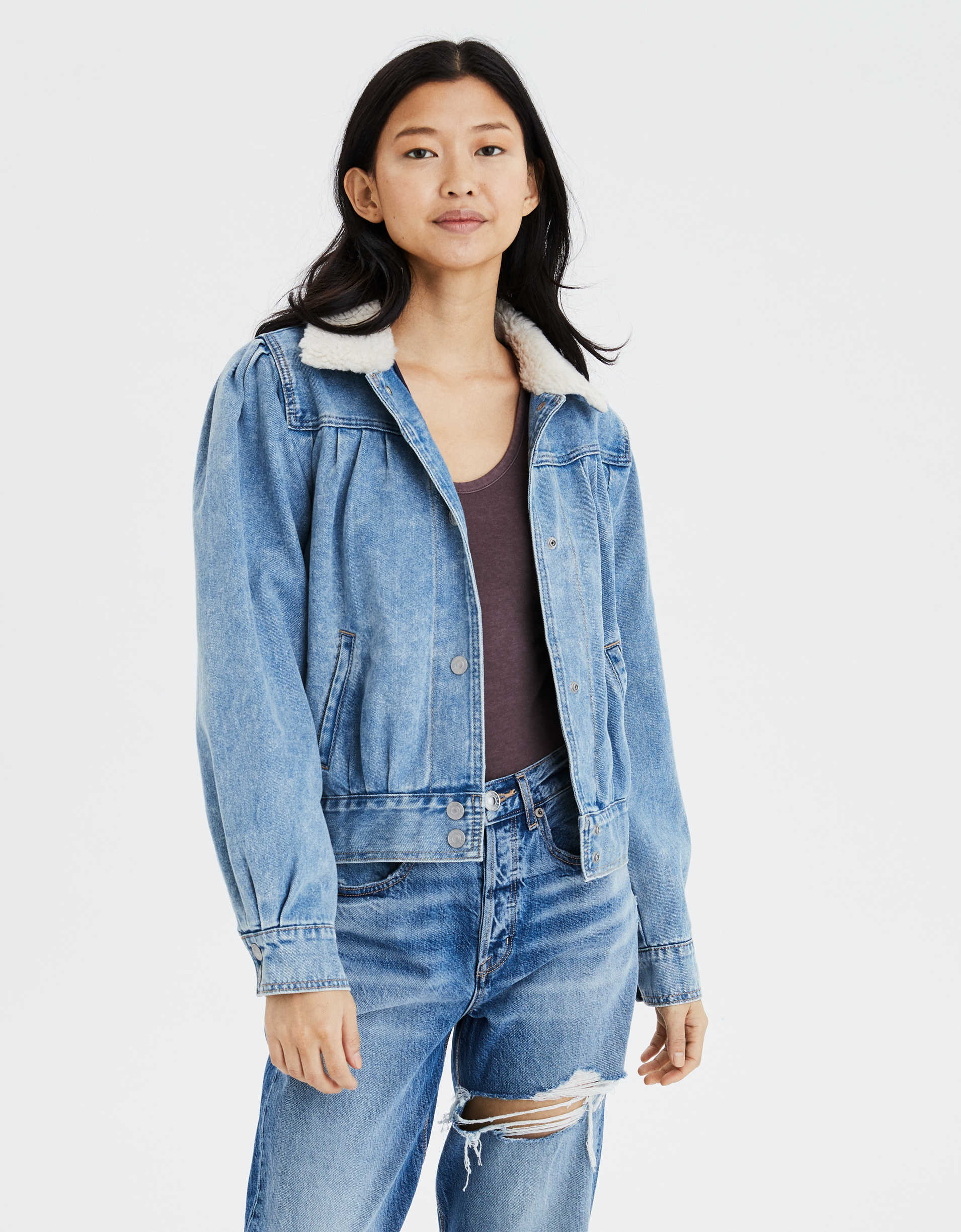 AE Sherpa Collar Denim Jacket