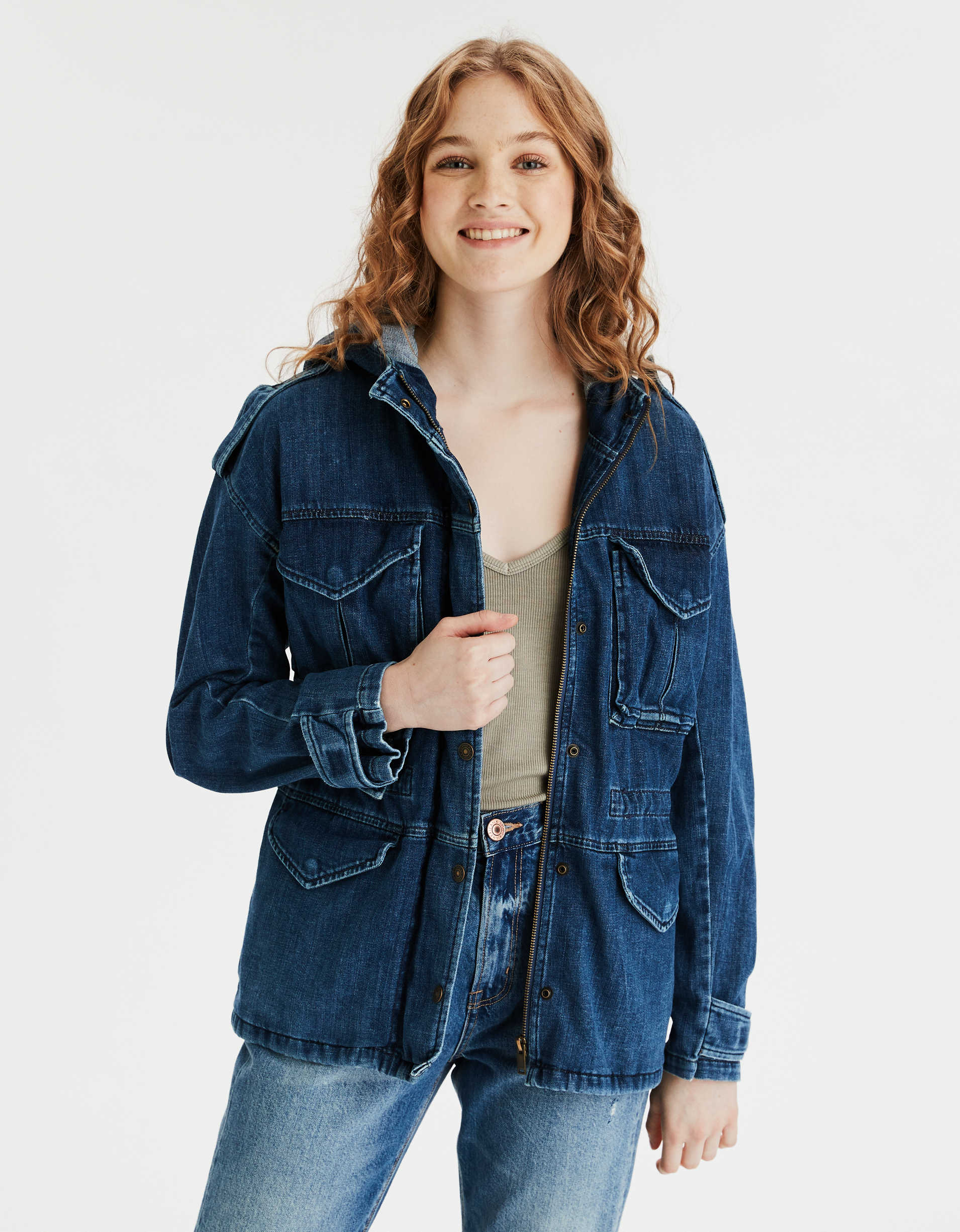 AE Denim Military Trench Jacket