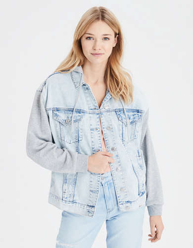 AE Fleece Sleeve Denim Boyfriend Jacket