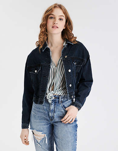 AE Cropped Dark Wash Denim Jacket