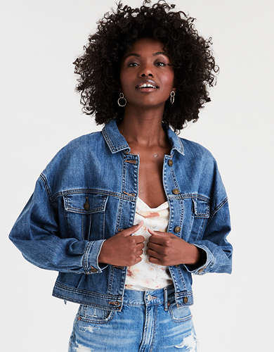 AE Boxy Cropped Denim Jacket