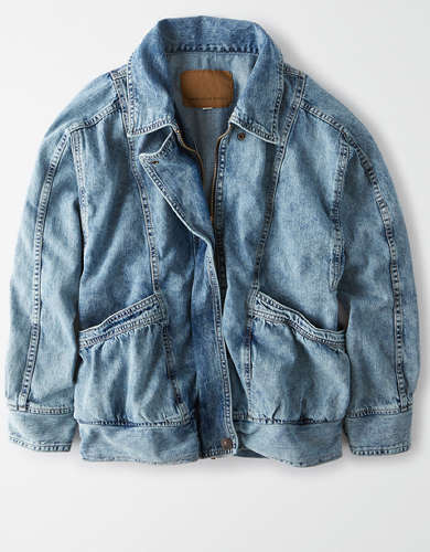 AE Oversized Acid Wash Zip Up Denim jacket