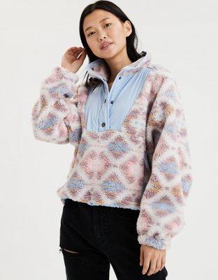Ae Printed Sherpa Pullover Jacket