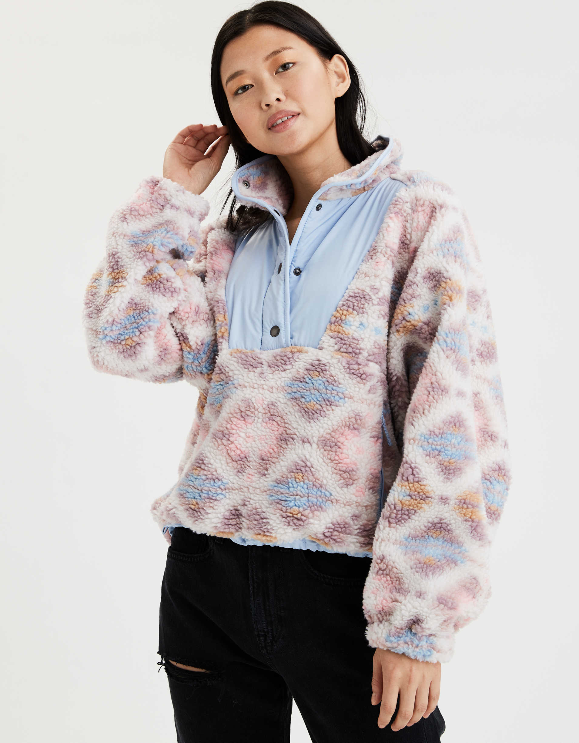 AE Printed Sherpa Pullover Jacket