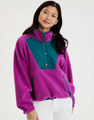 AE Fleece Color Block Pullover Jacket