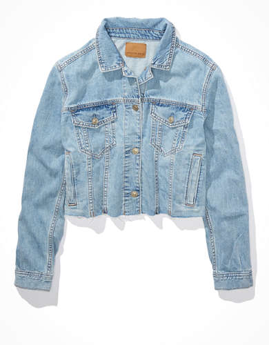 AE Cropped Denim Raw Hem Denim Jacket