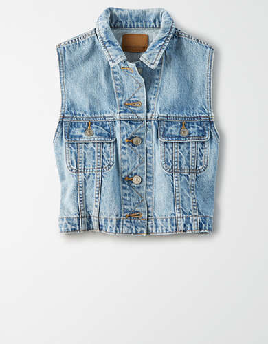 AE Cropped Denim Vest