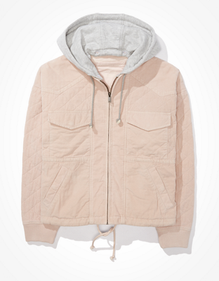 AE Quilted Hooded Bomber Jacket