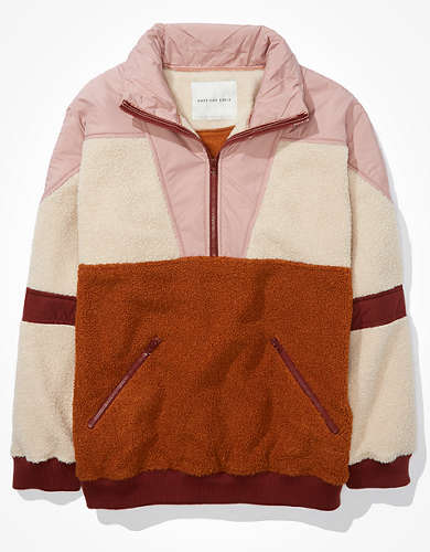 AE Sherpa Color Block Quarter-Zip Jacket