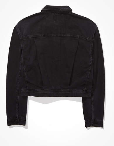 AE Black Cropped Denim Jacket
