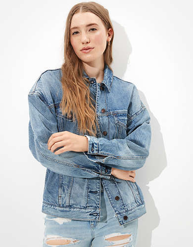 AE Oversized Plaid Lined Denim Jacket