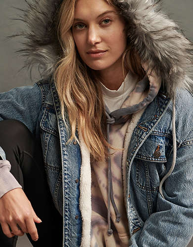 Cozy Sherpa-Lined Denim Jacket