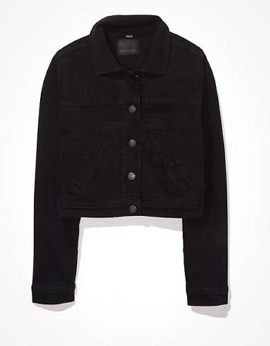 AE Cropped Black Denim Jacket