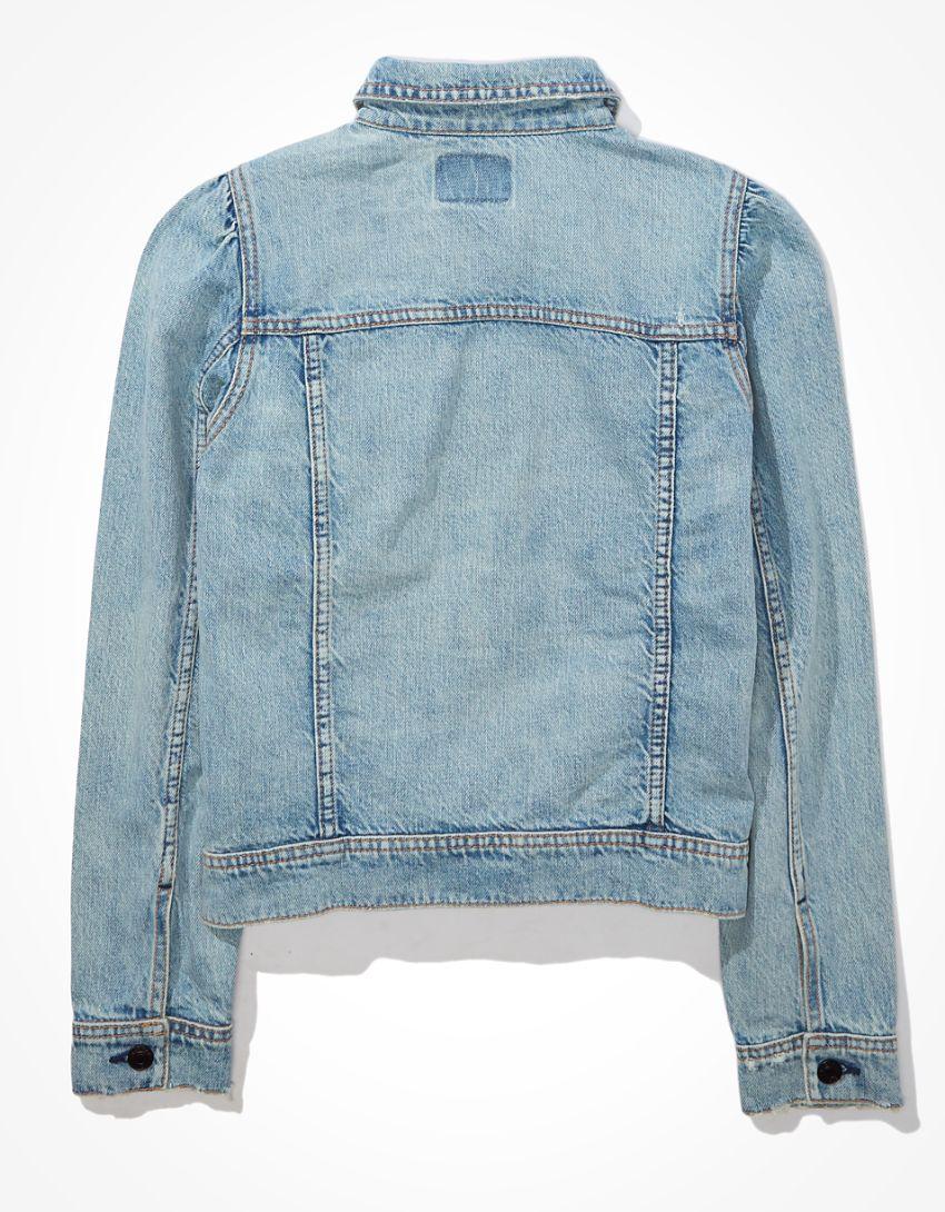 AE Cropped Puff-Sleeve Denim Jacket
