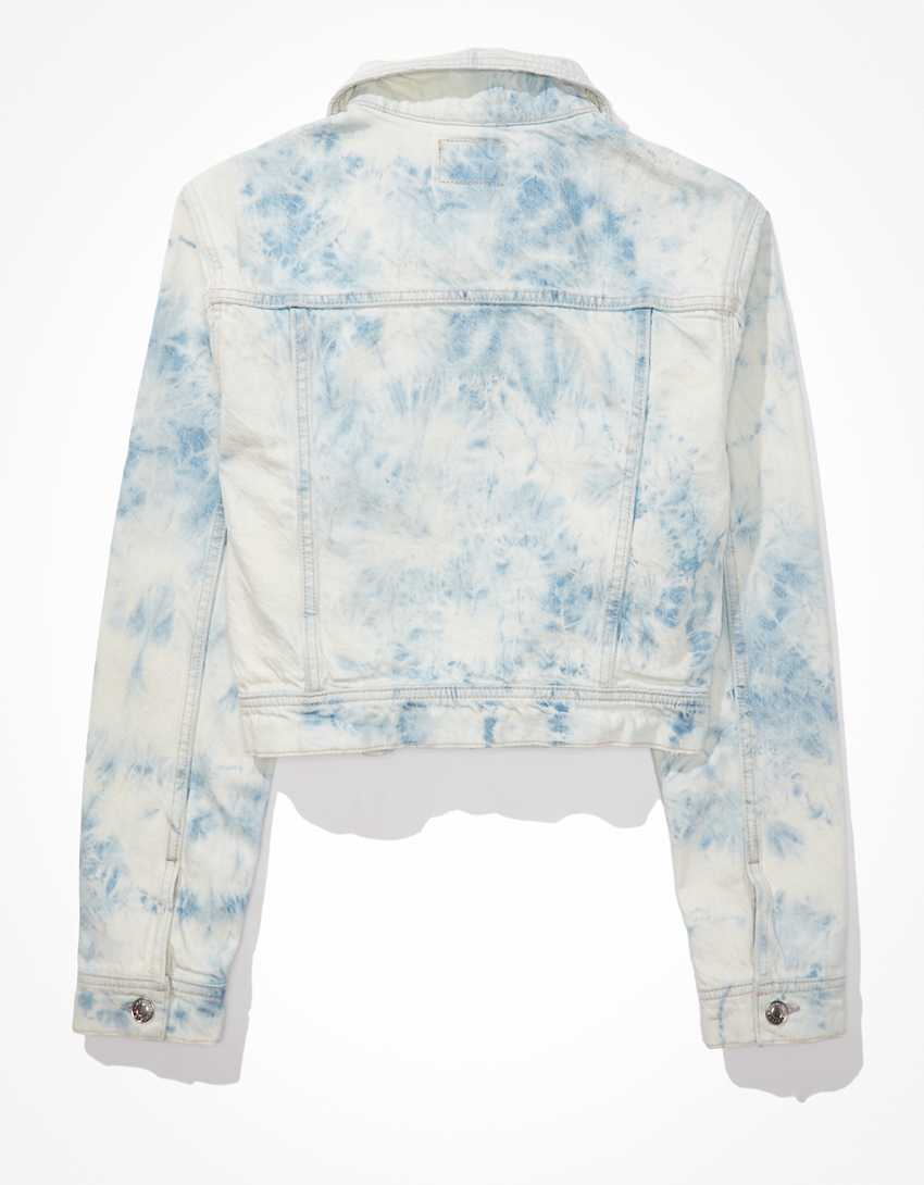 AE Shrunken Tie-Dye Denim Jacket