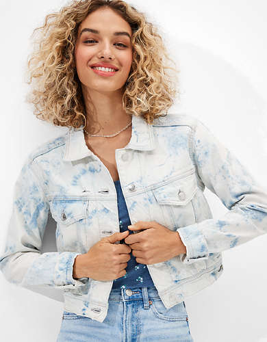AE Shrunken Tie-Dye Denim Jacket