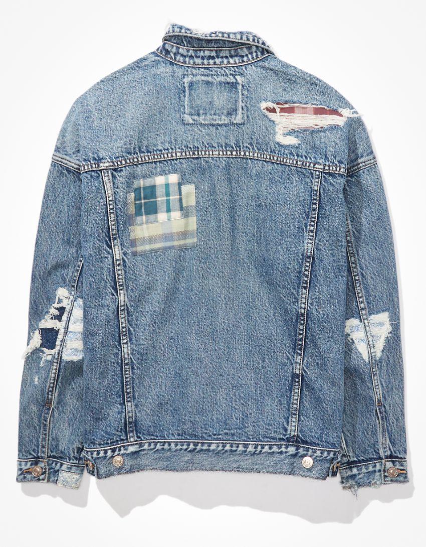 AE Patchwork Boyfriend Denim Jacket