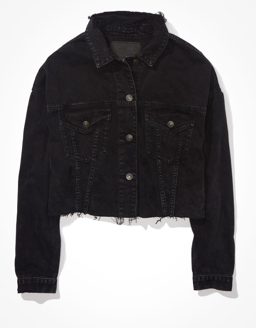 AE Black Cropped Denim Jacket