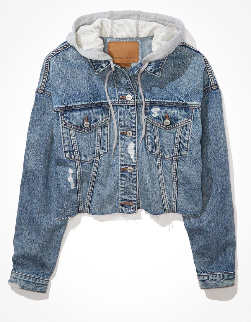 AE Cropped Hooded Denim Jacket