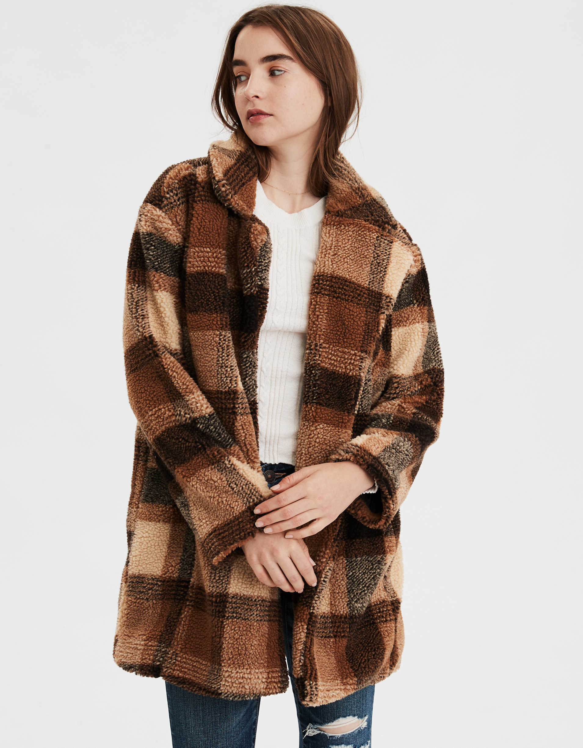 AE  Faux Sherpa Plaid Coat