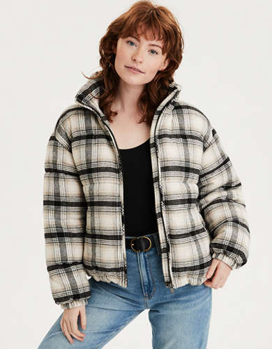 AE Plaid Flannel Puffer Jacket
