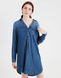 Ae Popover Denim Shirt Dress by American Eagle Outfitters