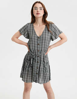 Ae Plaid Fit &Amp; Flare Button Up Dress by American Eagle Outfitters