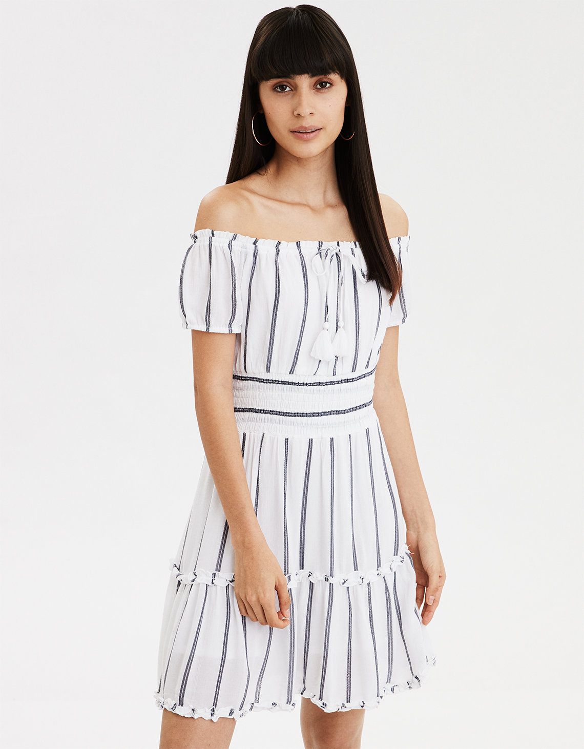 AE Off The Shoulder Striped Dress