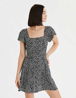 AE Printed Button Front Mini Dress