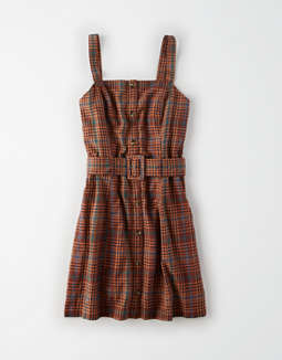 AE Plaid Button Down Slip Dress