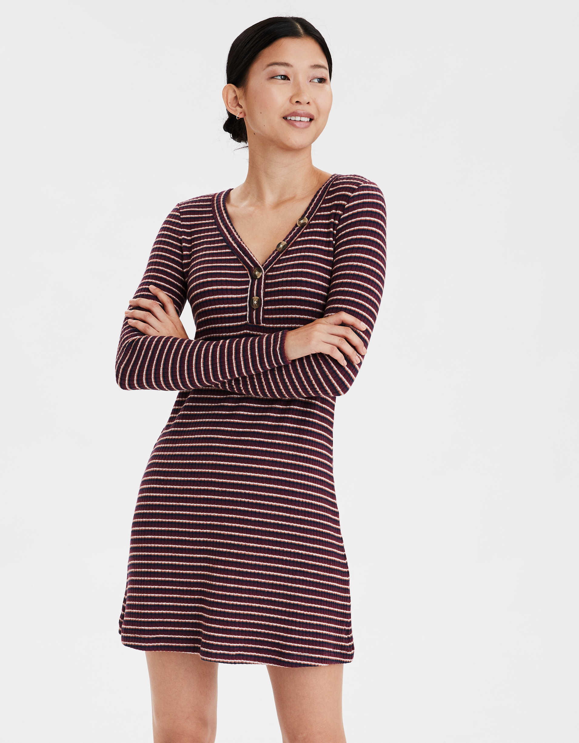 AE Plush Long Sleeve Henley Neck Dress