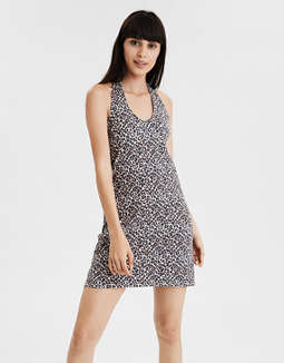 AE Knitted Leopard Print Halter Dress