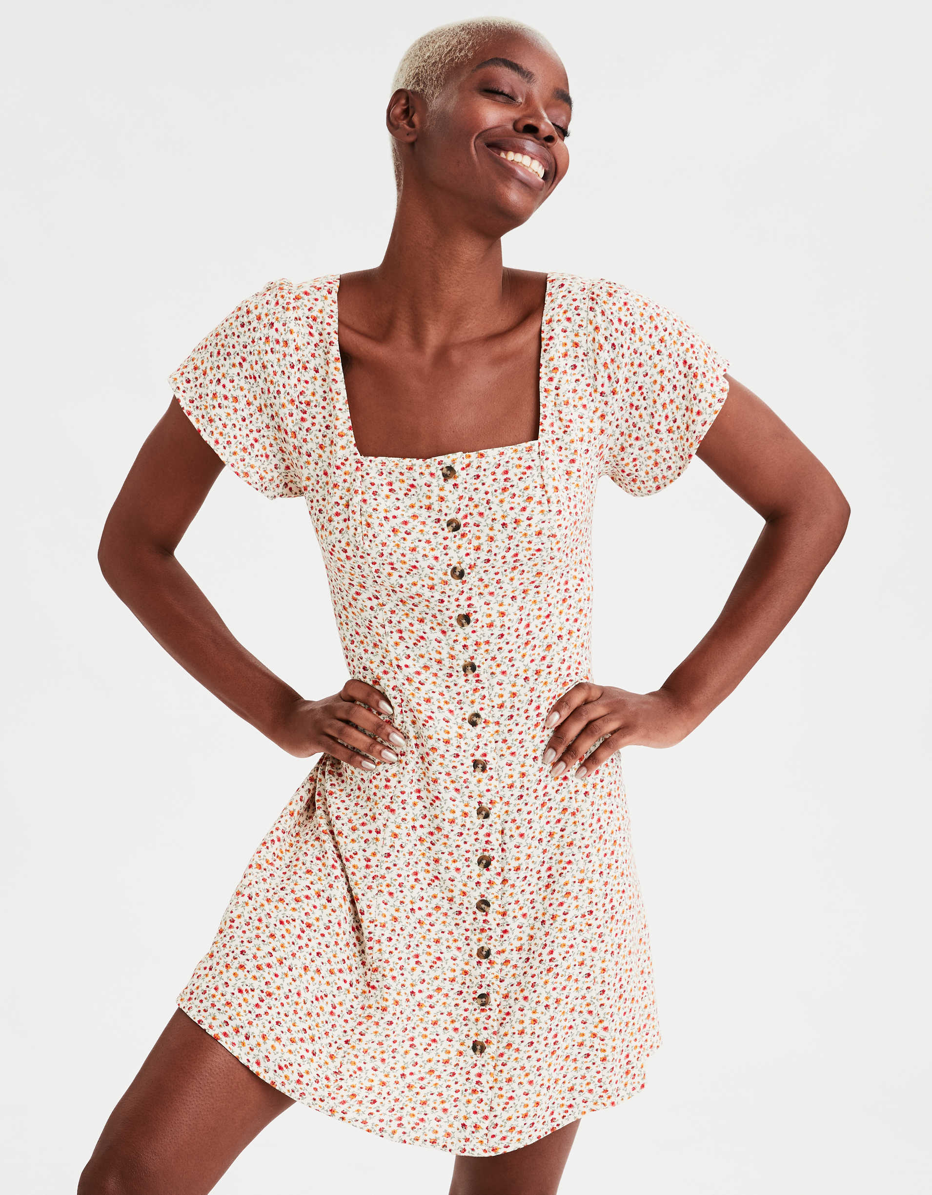 AE Square Neck Button Front Mini Dress