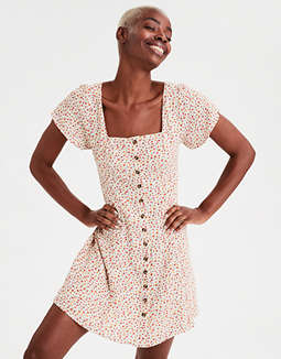 AE Square Neck Button Front Shift Dress