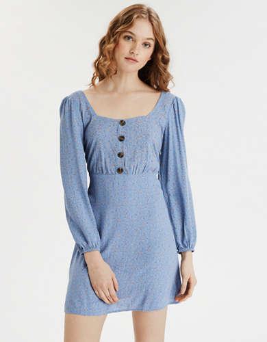 AE Long Sleeve Square Neck Mini Dress