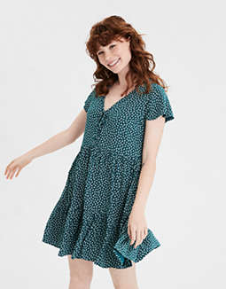 AE Printed Tiered Babydoll Dress