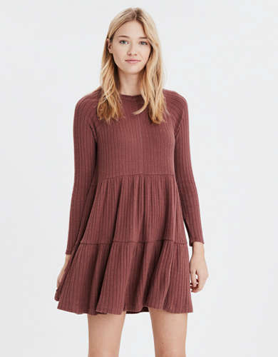 AE Soft Plush Long Sleeve Babydoll Dress