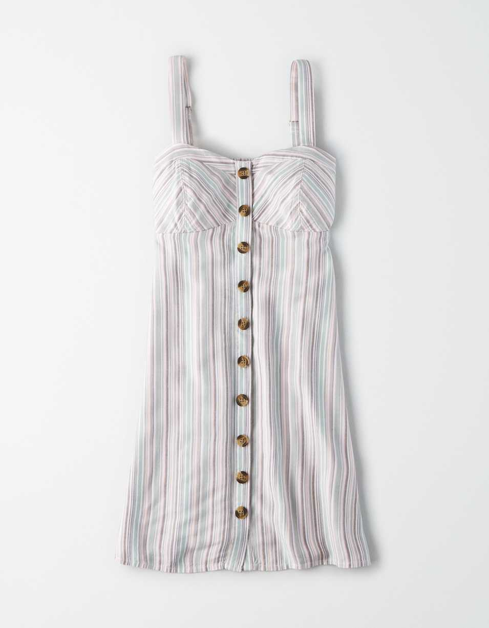 AE Striped Button Front Mini Dress