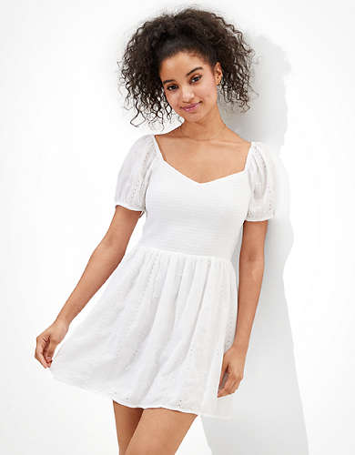 AE Solid Puff-Sleeve Mini Dress