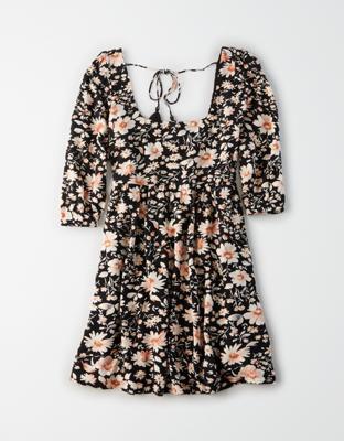 AE 프린트 퍼프 슬리브 베이비돌 드레스
