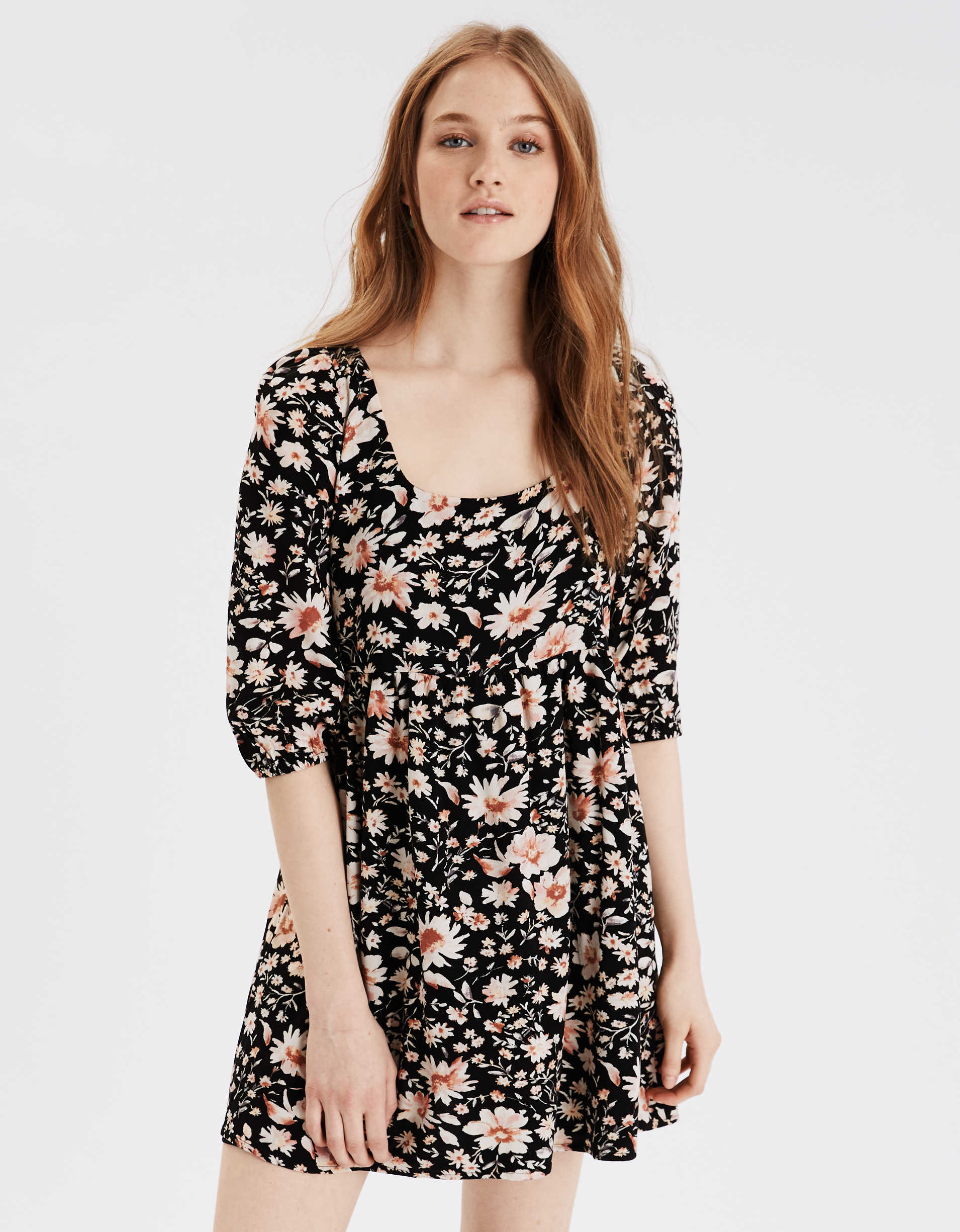 AE Printed Puff Sleeve Babydoll Dress